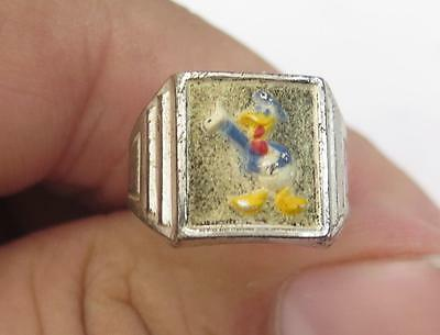 NOS Vintage Art Deco Sterling Silver Enamel Walt Disney Donald Duck WDP Ring