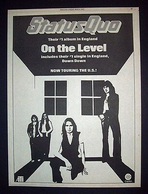 Status Quo On The Level 1975 Poster Type Ad, Promo Advert