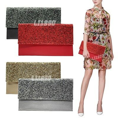 Women  Flat Oversize Envelope Clutch Bag Faux Leather Evening Party Handbag