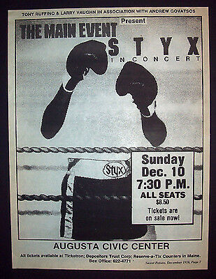 Styx The Main Event Tour 1978 Poster Type (Maine) Concert Advert, Promo Ad