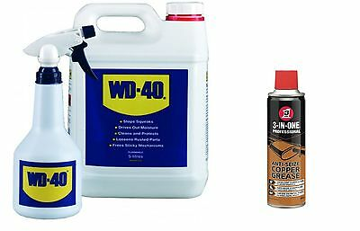 Wd40 + Applicator Bottle 5 Litre 5L And 3In1 Spray Copper Grease 400Ml