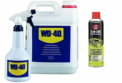 Wd40 + Applicator Bottle 5 Litre 5L And 3In1 Spray Degreaser 500Ml