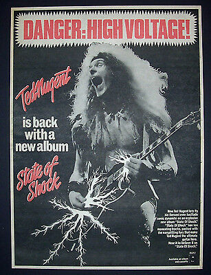 Ted Nugent State Of Shock 1979 Poster Type Advert, Promo Ad