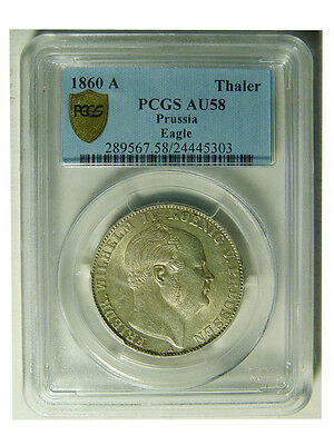 1860-A Germany Prussia 1 Thaler Silver Coin Pcgs Au 58