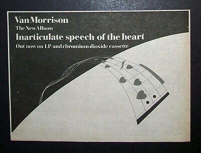 Van Morrison Inarticulate Speech Of The Heart 1983 Small Poster Type Ad, Advert