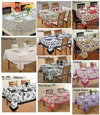 100% Cotton Table Linen Cloth Set Matching Napkins 6 Seater Dining Table Cover