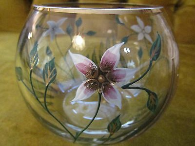 Hand Painted Glass Flower Vase Candy Dish Candle Holder 1500