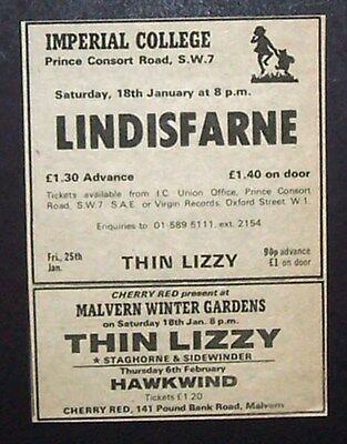Thin Lizzy Fighting Tour Hawkwind w Lemmy 1975 Small UK Concert Ad Promo Advert