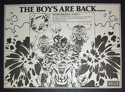 Thin Lizzy Remembering Part 1 1976 Small Poster Type Advert, Promo Ad