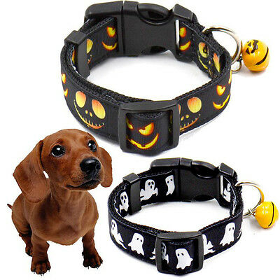 Puppy Pet Cat Dog Halloween Bell Adjustable Collar Buckle Neck Necklace Strap