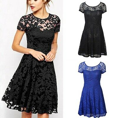Women Lace Short Sleeve Party Cocktail Evening Bodycon Prom Sexy Mini Dress