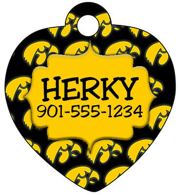 Custom NCAA Iowa Hawkeyes Pet Id Tag for Dogs and Cats