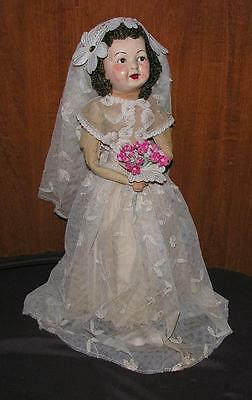 "Vtg 1940's Craft Folk Art Lg 17 1/2"" Crepe Paper Bride Doll Paper Mache Face"
