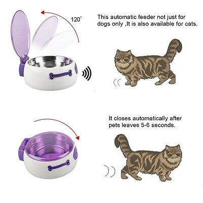 Pet Cat Dog Automatic Sensor Stainless Steel Food Bowl Dish Feeder-AU warehouse