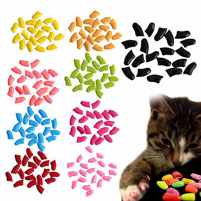 20x Colorful Paw Claw Control Soft Rubber Nail Caps Cover For Pet Dog Cat Kitten