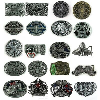 Chic 1PC New Western Vintage Men's Leather Belt Buckle Metal 20 Kinds of Pattern