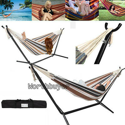 Double Hammock With Steel Stand Include Portable Carrying Bag Case Multi Colors