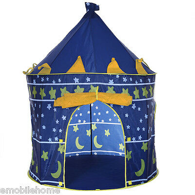Children Folding Play House Portable Toy Tent Castle Cubby Playhut Blue
