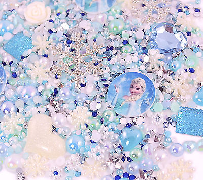 FROZEN Themed Sparkle Cabochon Rhinestone Pearl Set Kit DIY Decoden Kawaii Craft