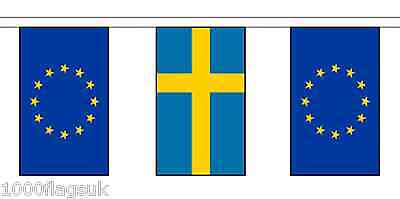 Sweden & European Union Polyester Flag Bunting - 5m with 14 Flags