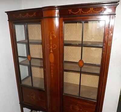 Edwardian Mahogany & String Inlaid Marquetry Decorated Display Cabinet