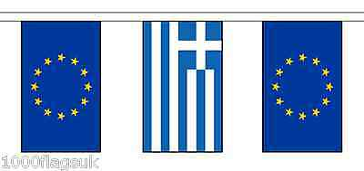 Greece & European Union Polyester Flag Bunting - 10m with 28 Flags