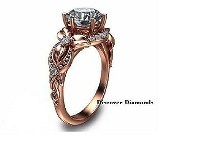 1.25 Ct Round Cut Diamond Solitaire Engagement Ring 14 K Rose Gold Certified