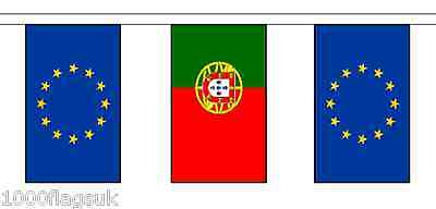 Portugal & European Union Polyester Flag Bunting - 10m with 28 Flags