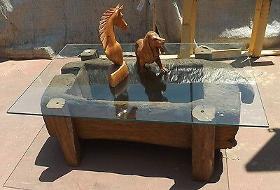 Old tool original x pounding the rice Teak table coffee fume cm 125x81