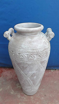 Jar Indonesian in ceramic white pickled finish h 80x40 holder blossom amphora