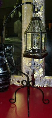 Candle holder a Floor lamp wrought iron Lantern glass e metal cm100x42x42