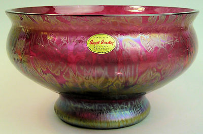 A Fine Royal Brierley Iridescent Studio Art Glass Large Bowl