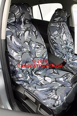 VW Caddy Maxi Camper - Grey Camouflage Waterproof Van Seat Covers - 2 x Fronts