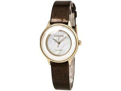 Citizen Eco Drive EM0383-08D MOP Dial Stainless Brown Leather Women's Watch