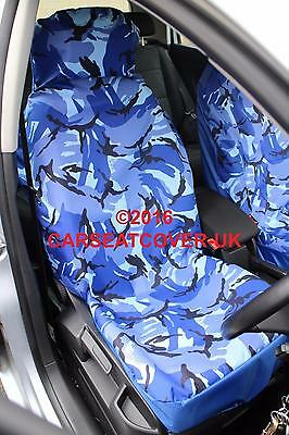 VW Caddy Maxi Camper - Blue Camouflage Waterproof Van Seat Covers - 2 x Fronts