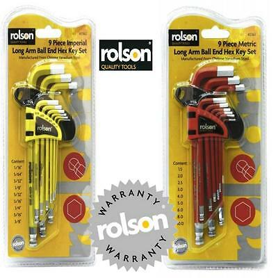 ROLSON Imperial + Metric Long arm Hex Allen Key Ball End Set Couloured AB25 36