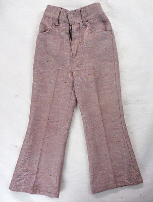 Vintage 70s Health-Tex Woven Red Fleck Stripes BELL BOTTOM Pants 6/7 Boys S