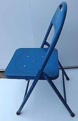 Folding chair Vintage iron metal 70's Blue cm 84hx40 BAR original