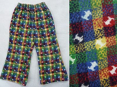 Vintage Health-Tex Novelty 60s SCOTTIE DOG Puppy Plaid Bell Bottom Pants 4T