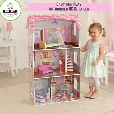 """Kidkraft Penelope Dollhouse Wooden Doll house Barbie 12"""" Dolls with Furniture"""