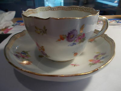 Antique MEISSEN Crossed Swords Cup & Saucer-Flowers & Insects w/Gold Trim-#3
