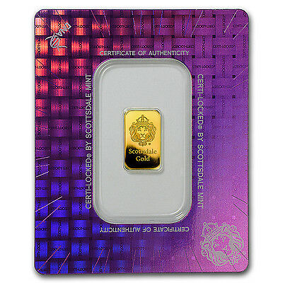 2 gram Gold Bar - Scottsdale Mint (In Certi-Lock® Assay) - SKU #97649