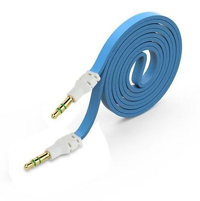 3.5mm Stereo Auxiliary Male to Male Flat Audio Music Aux Cable Cord Blue, 3 ft.