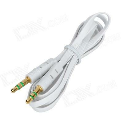 3.5mm Stereo Auxiliary Male to Male Flat Audio Music Aux Cable Cord White, 3 ft.