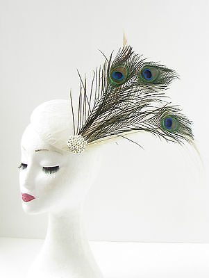 Ivory Cream Green Peacock Feather Fascinator Headpiece Hair Vtg 1920s Races 294