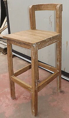 Stool Vintage wood in teak recycled pickled finish bar local hall home garage