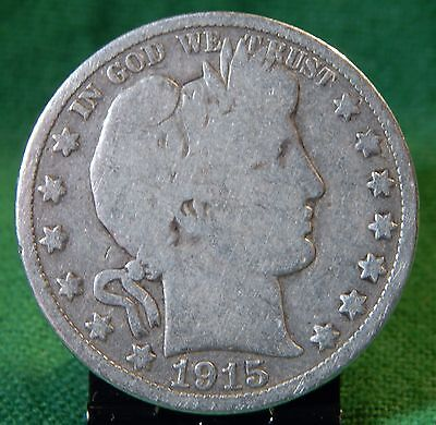 1915 D Barber Silver Half Dollar Circulated Denver Mint!