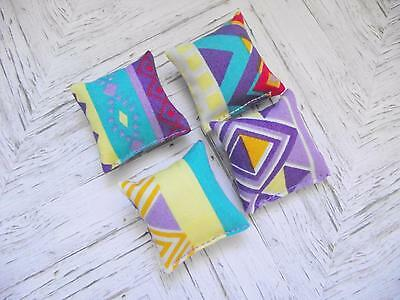Dolls House Miniature 1:12 Scale  set x 4 cushions cotton aztec design