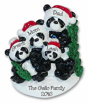 PANDA BEAR FAMILY OF 4 Personalized Ornament HAND PAINTED RESIN Clay by Deb & Co