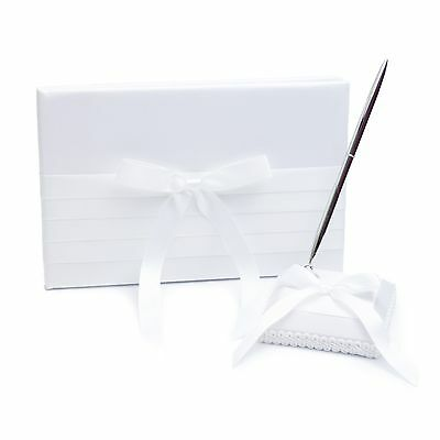Wedding Guest Book and Pen Set - Classic White Satin Design - Party Decoration